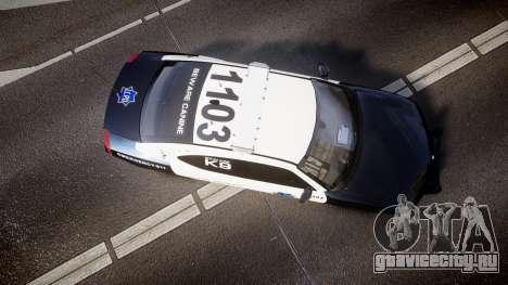 Dodge Charger 2010 LCPD K9 [ELS] для GTA 4 вид справа