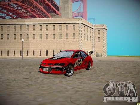 Mitsubishi Lancer Tokyo Drift для GTA San Andreas вид изнутри