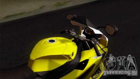Suzuki GSX-R 2015 Yellow & White для GTA San Andreas вид справа