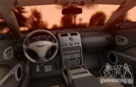 Aston Martin V12 Vanquish 2001 v1.01 для GTA San Andreas вид изнутри