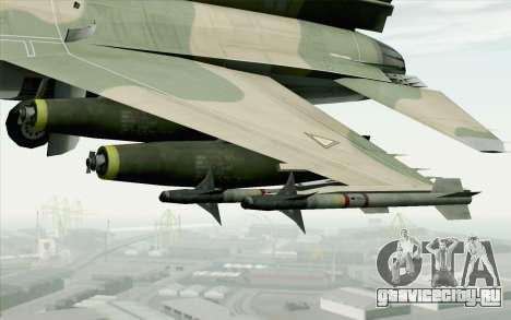 F-16 Fighter-Bomber Green-Brown Camo для GTA San Andreas вид справа