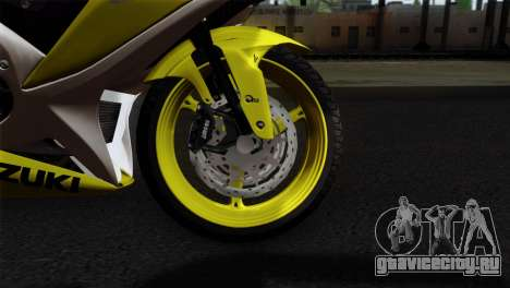 Suzuki GSX-R 2015 Yellow & White для GTA San Andreas вид сзади слева