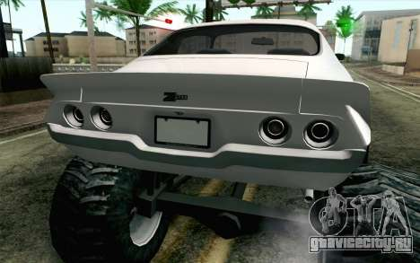 Chevrolet Camaro Z28 Monster Truck для GTA San Andreas вид сзади