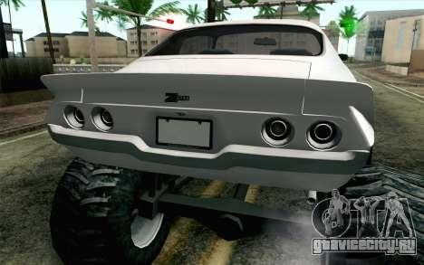 Chevrolet Camaro Z28 Monster Truck для GTA San Andreas вид сзади