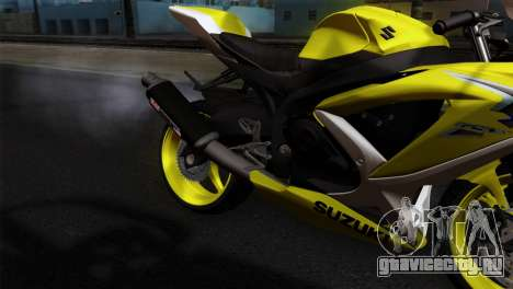 Suzuki GSX-R 2015 Yellow & White для GTA San Andreas вид сзади