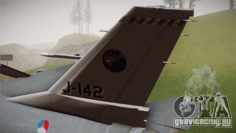 F-16 Fighting Falcon RNLAF Solo Display J-142 для GTA San Andreas вид сзади слева