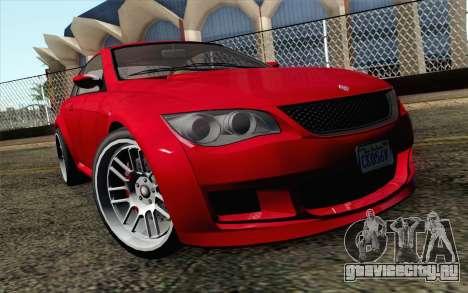 GTA 5 Ubermacht Sentinel Coupe IVF для GTA San Andreas вид сзади