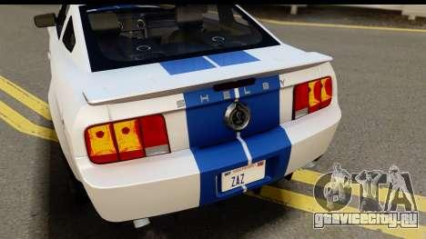Ford Mustang Shelby GT500KR для GTA San Andreas вид изнутри