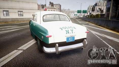 Ford Custom Deluxe Fordor 1949 New York Police для GTA 4 вид сзади слева