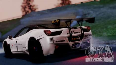 Ferrari 458 Italy Liberty Walk LB Performance для GTA San Andreas вид слева