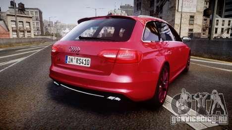 Audi S4 Avant 2013 для GTA 4 вид сзади слева