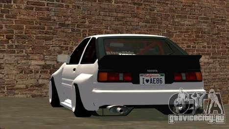 Toyota AE86 для GTA San Andreas вид сбоку
