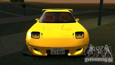Mazda RX-7 для GTA San Andreas вид изнутри