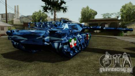 Голубой военный камуфляж для танка для GTA San Andreas вид слева