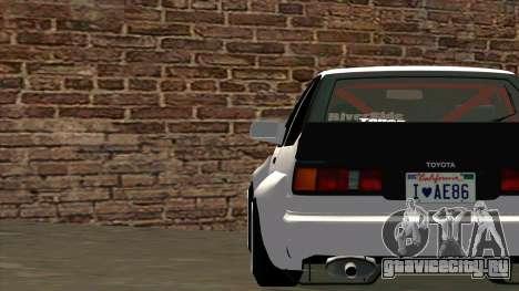 Toyota AE86 для GTA San Andreas вид сверху