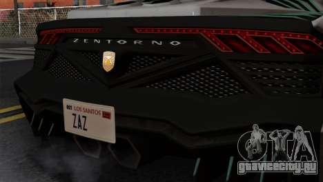 GTA 5 Pegassi Zentorno SA Style для GTA San Andreas вид сзади