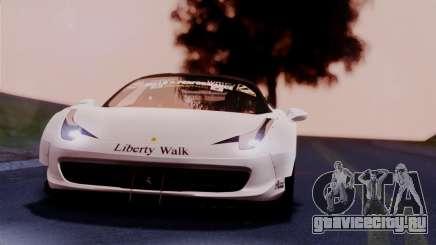 Ferrari 458 Italy Liberty Walk LB Performance для GTA San Andreas