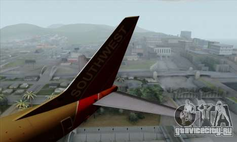 Boeing 737-800 Southwest Gold для GTA San Andreas вид сзади слева