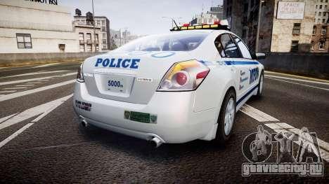 Nissan Altima Hybrid NYPD для GTA 4 вид сзади слева