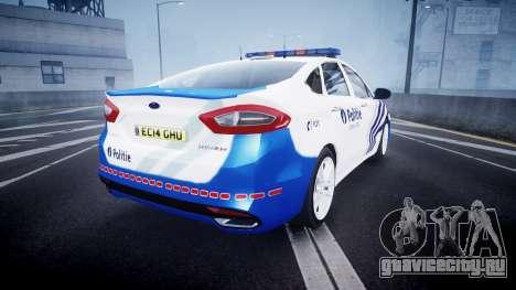 Ford Fusion 2014 Belgian Police [ELS] для GTA 4 вид сзади слева