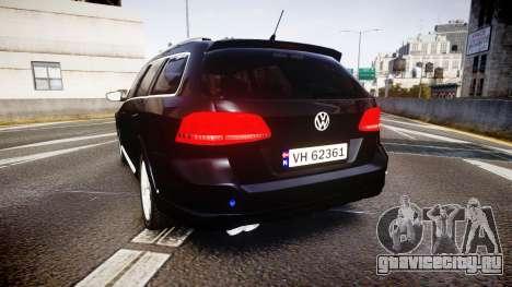 Volkswagen Passat B7 Police 2015 [ELS] unmarked для GTA 4 вид сзади слева