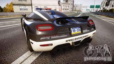 Koenigsegg Agera 2013 Police [EPM] v1.1 PJ3 для GTA 4 вид сзади слева