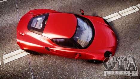 Alfa Romeo 4C 2014 для GTA 4 вид справа