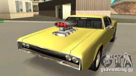 Sabre Charger для GTA San Andreas вид изнутри