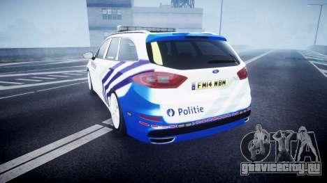 Ford Fusion Estate 2014 Belgian Police [ELS] для GTA 4 вид сзади слева