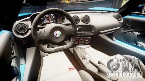 Alfa Romeo 4C 2014 для GTA 4 вид сзади