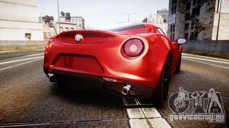Alfa Romeo 4C 2014 для GTA 4 вид сзади слева