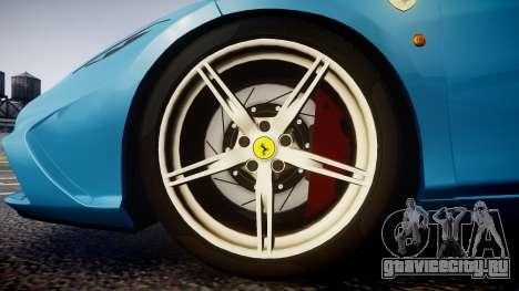Ferrari 458 Speciale 2014 для GTA 4 вид сзади