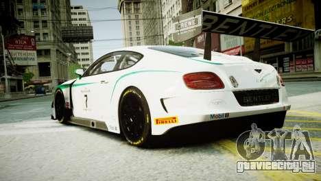 Bentley Continental GT3 2014 для GTA 4 вид слева