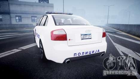 Audi S4 Serbian Police [ELS] для GTA 4 вид сзади слева
