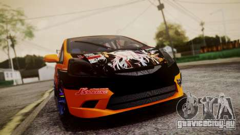 Honda Fit Street Modify Inori Yuzuriha Itasha для GTA San Andreas вид сзади