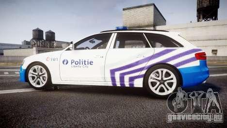Audi S4 Avant Belgian Police [ELS] для GTA 4 вид слева