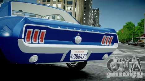 Ford Mustang 1967 для GTA 4 вид справа