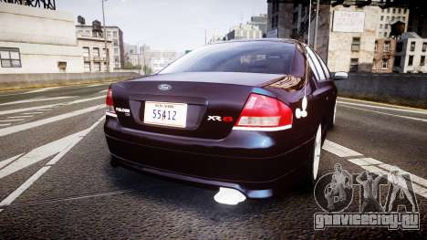 Ford Falcon XR8 2004 Unmarked Police [ELS] для GTA 4 вид сзади слева