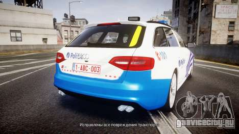 Audi S4 Avant Belgian Police [ELS] для GTA 4 вид сзади слева
