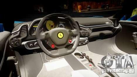 Ferrari 458 Speciale 2014 для GTA 4 вид изнутри