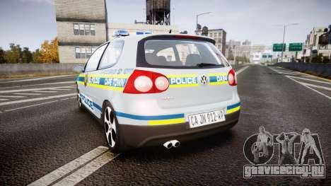 Volkswagen Golf South African Police [ELS] для GTA 4 вид сзади слева