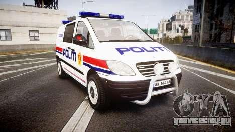 Mercedes-Benz Vito 2014 Norwegian Police [ELS] для GTA 4