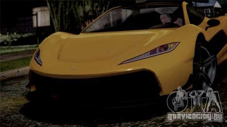 GTA 5 Progen T20 IVF для GTA San Andreas вид сзади