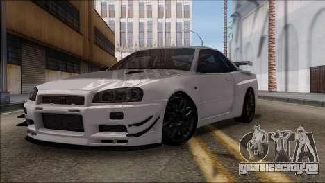 Nissan Skyline GT-R34 для GTA San Andreas вид слева