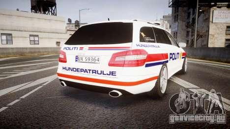 Mercedes-Benz E63 AMG Estate 2012 Police [ELS] для GTA 4 вид сзади слева