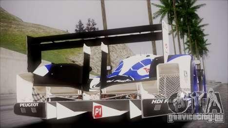 Peugeot Sport Total 908 Autovista для GTA San Andreas вид сзади слева