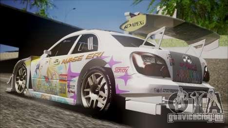 Subaru Impreza 2003 Love Live Muse Team Itasha для GTA San Andreas вид сзади слева