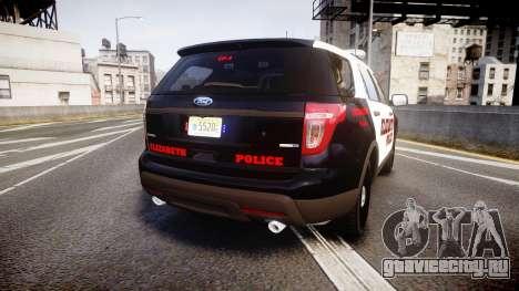 Ford Explorer 2011 Elizabeth Police [ELS] для GTA 4 вид сзади слева