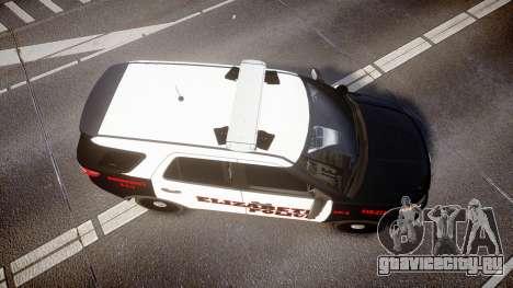 Ford Explorer 2011 Elizabeth Police [ELS] для GTA 4 вид справа