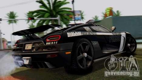 NFS Rivals Koenigsegg Agera R Enforcer для GTA San Andreas вид слева